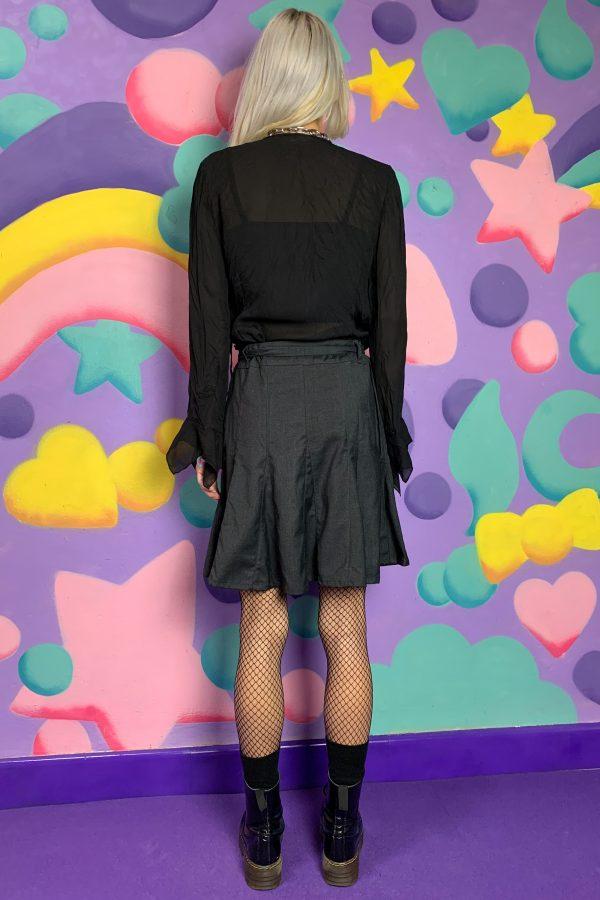 Goth ♡ Grunge Vintage Y2K Gray Godet Mini Skirt – M belted skirt