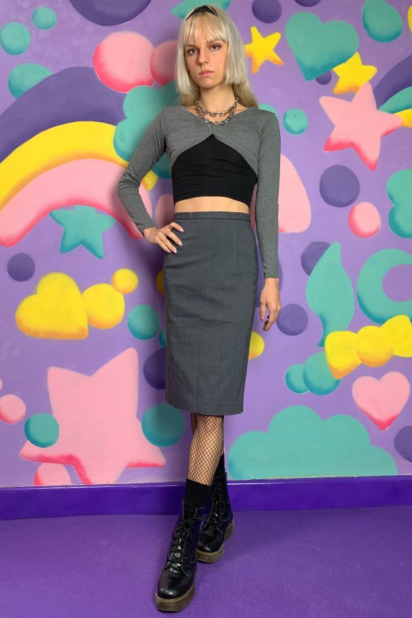 Cyber Vintage 90's Gray Pencil Skirt – XS 90s skirt