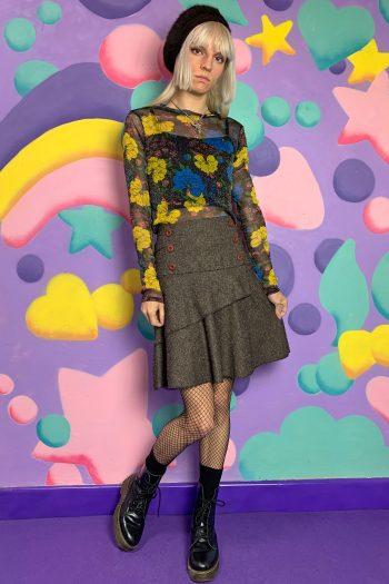 Boho Vintage Y2K Brown Flare Mini Skirt – S flare skirt