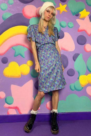 Boho Vintage Y2K Abstract Floral Wrap Dress – XL floral dress