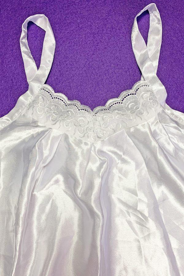 Goth ♡ Grunge Vintage 90's White Satin Cami Top – L/XL 90s top