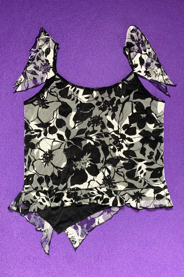 Cyber Vintage 90's Abstract Floral Mesh Top – L/XL 90s top