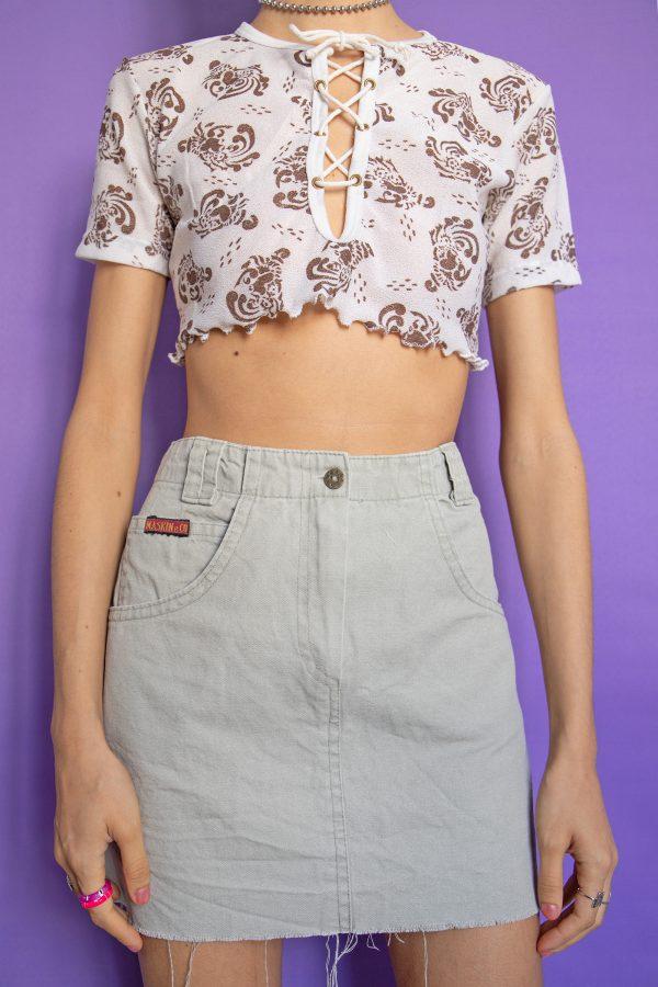 Goth ♡ Grunge Vintage 90's Beige Raw Hem Mini Skirt – XS 90s skirt