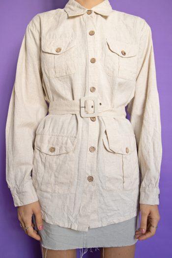 Boho Vintage 90's Oversized Linen Belted Shirt – M/L 90s blouse