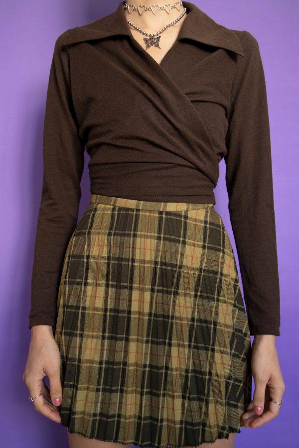 Boho Vintage 90's Tartan Pleated Mini Skirt – XS 90s skirt