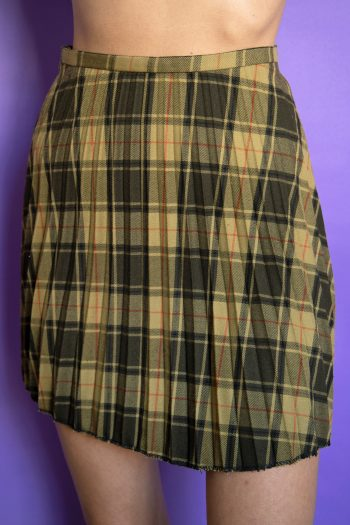 Boho Vintage 90's Tartan Pleated Mini Skirt – XS 90s skirt