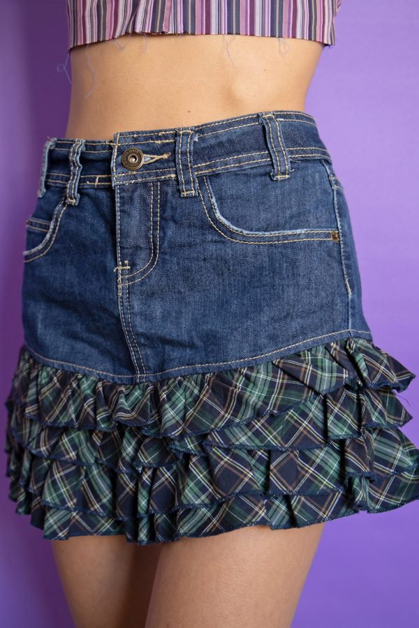 Cyber Vintage Y2K Denim Ruffle Mini Skirt – XS denim skirt