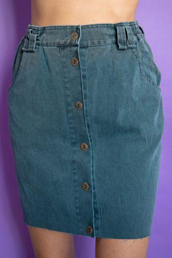 Boho Vintage 90's Green Button Mini Skirt – S 90s skirt