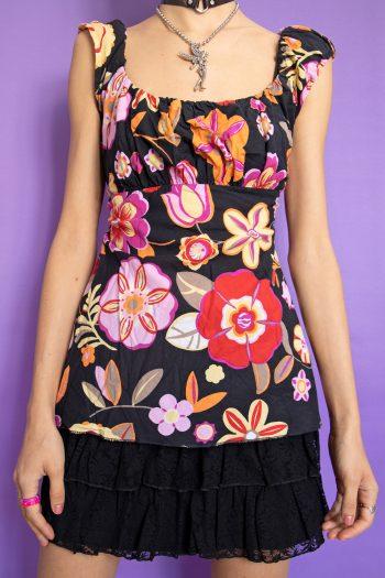 Boho Vintage Y2K Floral Ruched Top – M 90s top