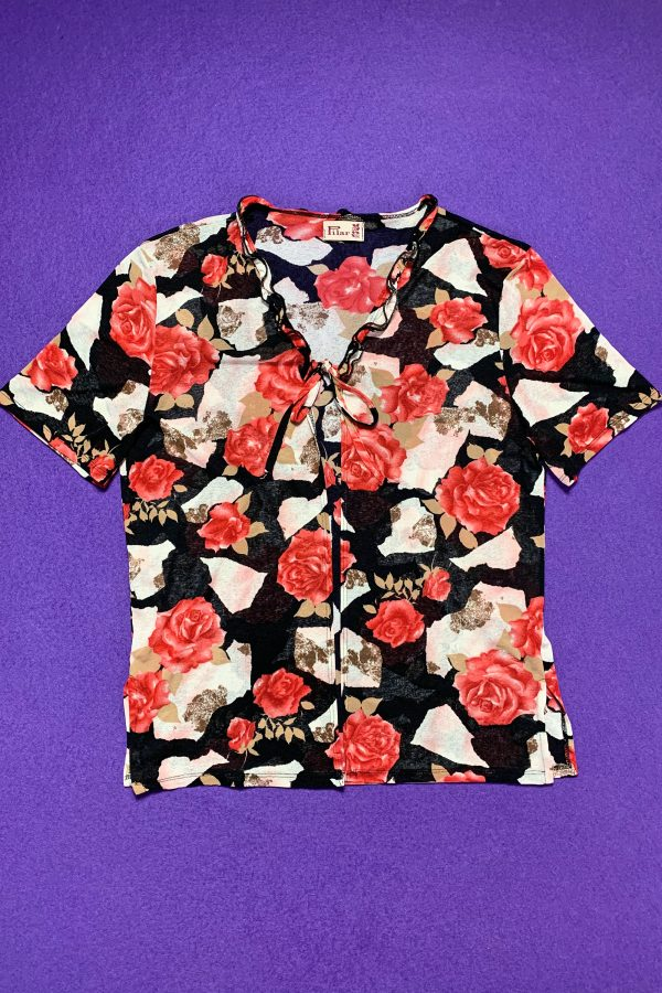 Boho Vintage 90's Rose Sheer Tie Front Top – XL/XXL 90s blouse