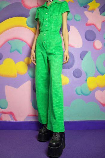Cyber Vintage 70's Polka Dot Button Jumpsuit – S 90s jumpsuit