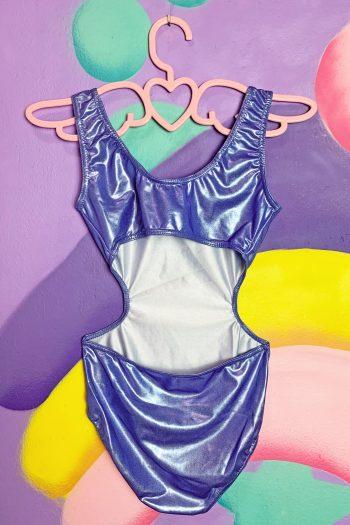 Cyber Vintage 90's Iridescent Cut Out Bodysuit – XXS 90s bodysuit