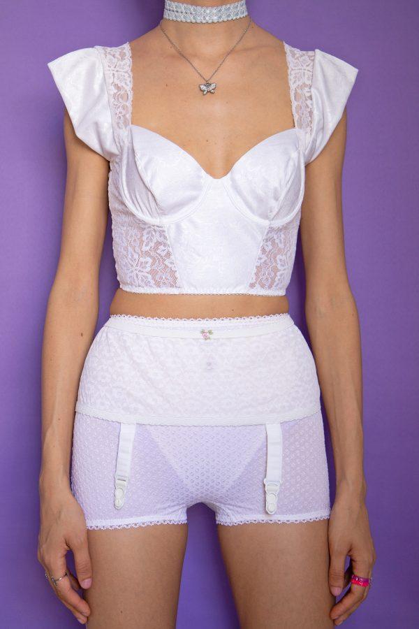 Belts Vintage 80's White Lace Garter Belt – XS 90s lingerie