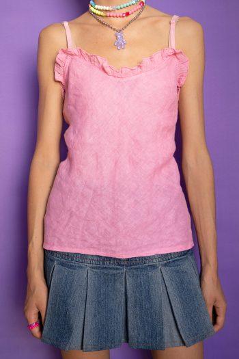 Kawaii ♡ Pastel Vintage Y2K Pink Linen Tank Top – M/L 90s top