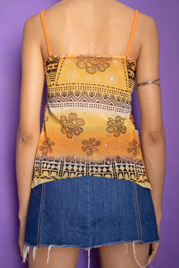 Cyber Vintage Y2K Abstract Tie Front Top – S cami top