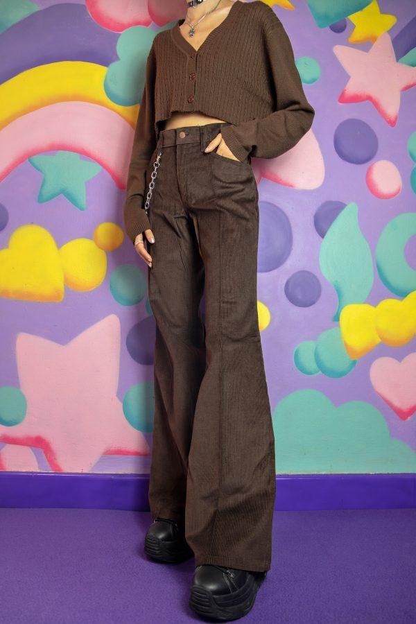 Goth ♡ Grunge Vintage 70's Brown Corduroy Flare Pants – S 90s pants