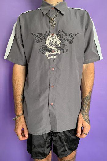 Cyber Vintage Y2K Gray Dragon Tribal Shirt – XL dragon shirt