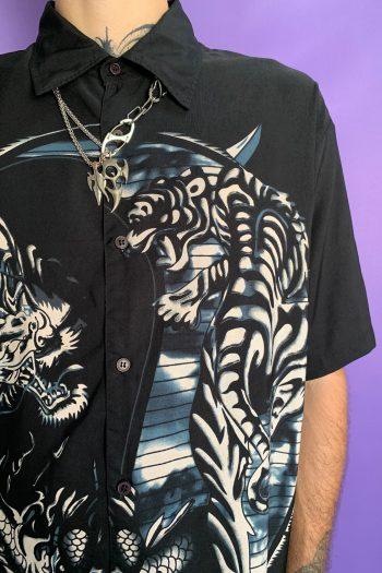 Cyber Vintage 90's Black Chinese Dragon Shirt – XL 90s shirt
