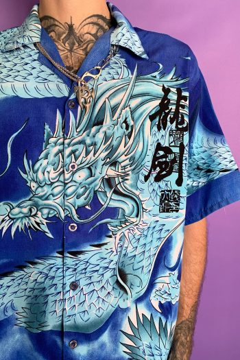 Cyber Vintage Y2K Blue Chinese Dragon Shirt – XL 90s shirt