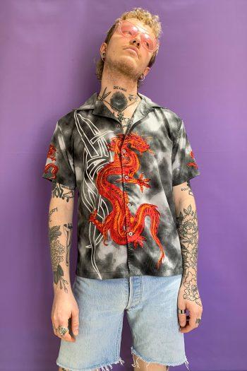 Cyber Vintage Y2K Dragon Tribal Shirt – XS 90s shirt