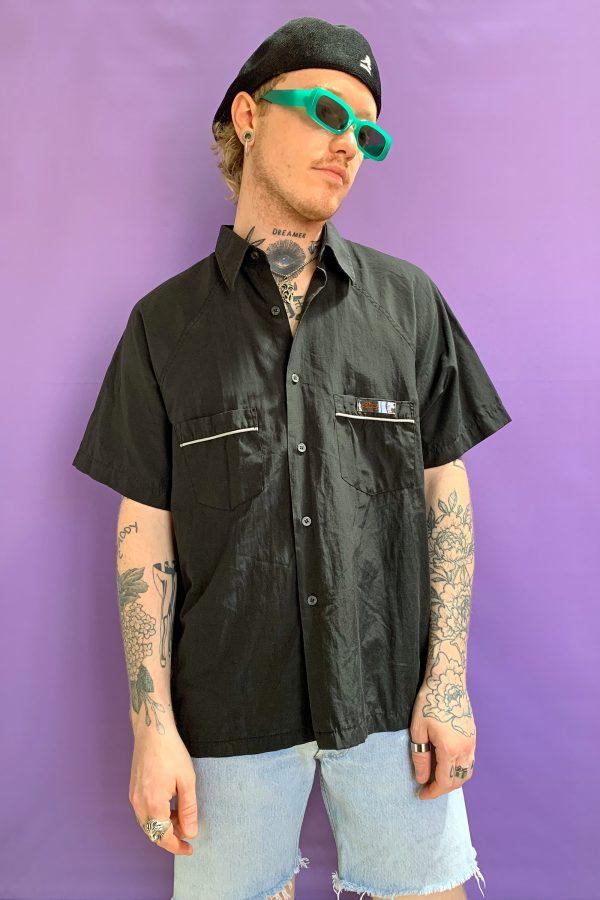 Cyber Vintage 90's Black Tribal Shirt – M/L 90s shirt