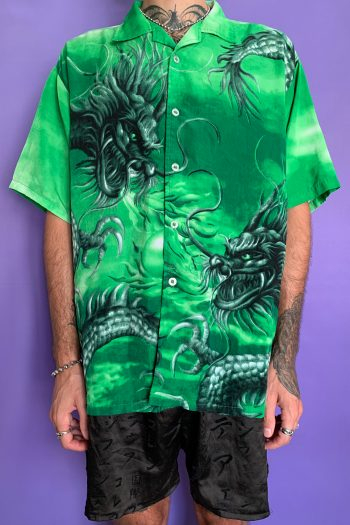 Cyber Vintage Y2K Green Chinese Dragon Shirt – XL 90s shirt