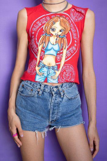 Bustiers & Crops Vintage Y2K Manga Anime Tank Top – XS Size XS