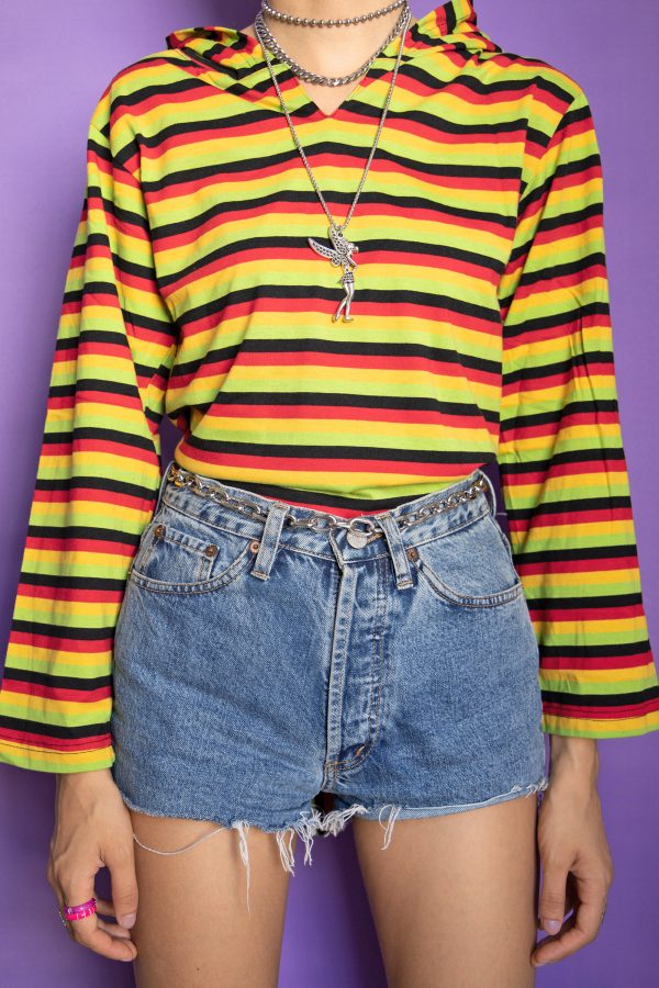 Festival Vintage Y2K Striped Pointed Hood Sweater – XS/S 90s sweater