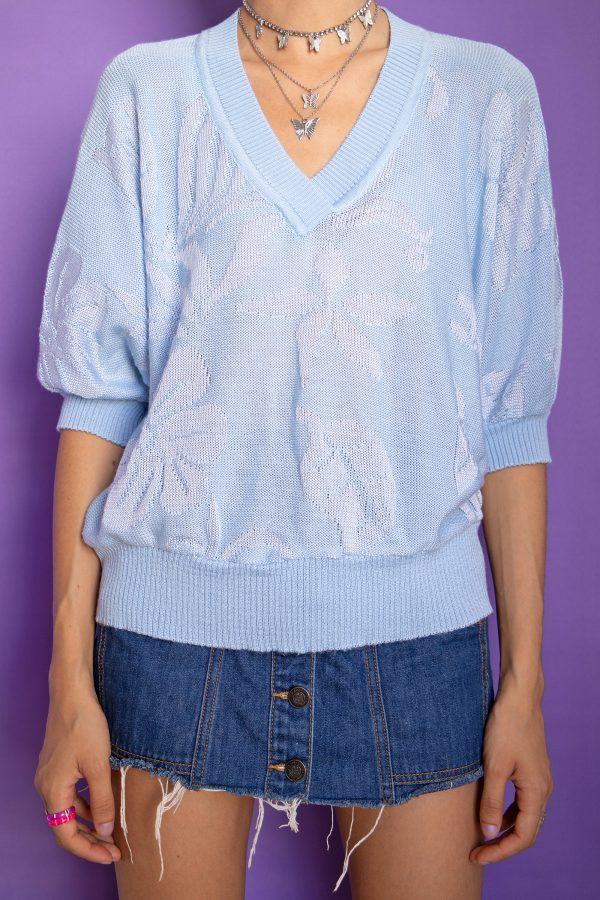 Boho Vintage 90's Pastel Blue Knit Top – L/XL 90s top