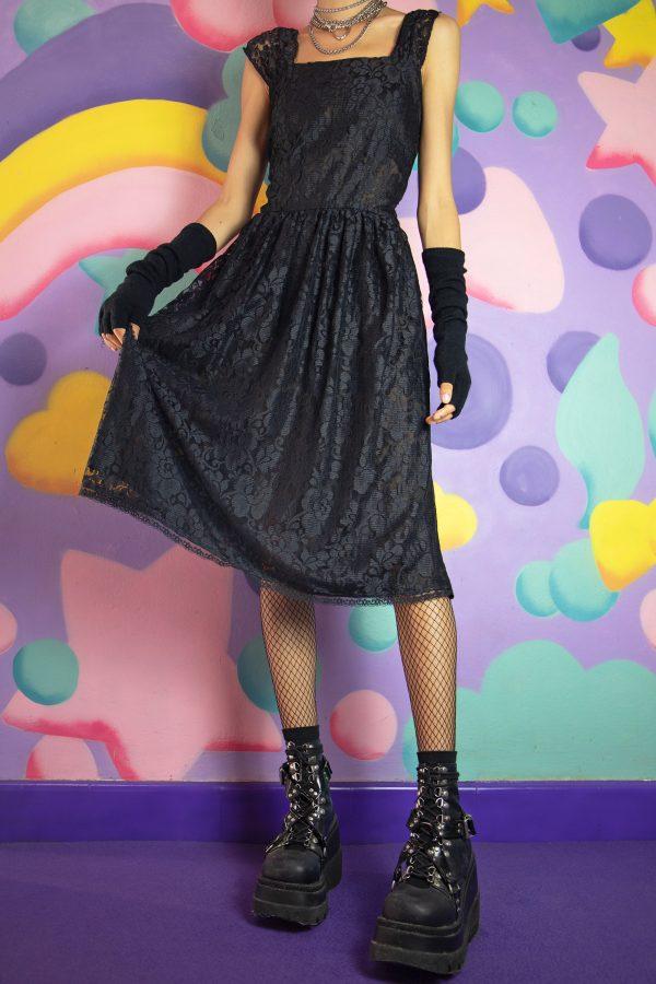 Dresses Vintage 90's Black Floral Lace Dress – S 90s dress