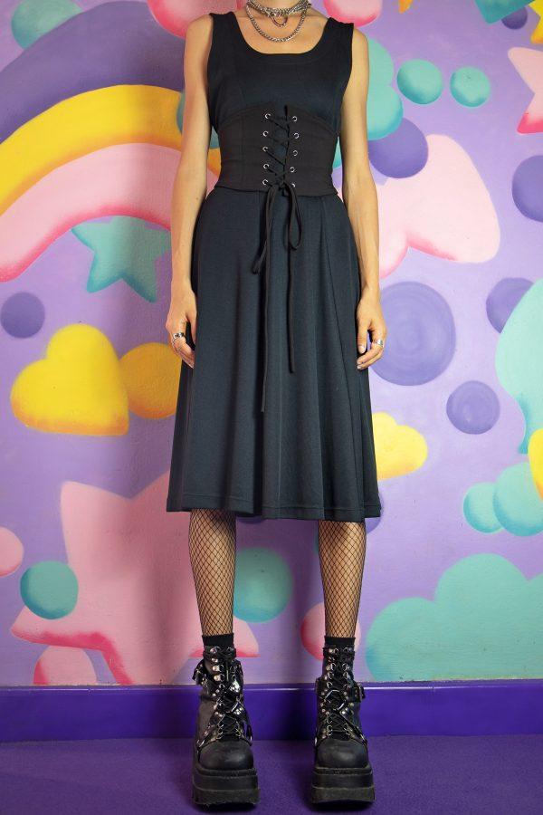 Boho Vintage 90's Black Ribbed Midi Dress – S/M 90s dress