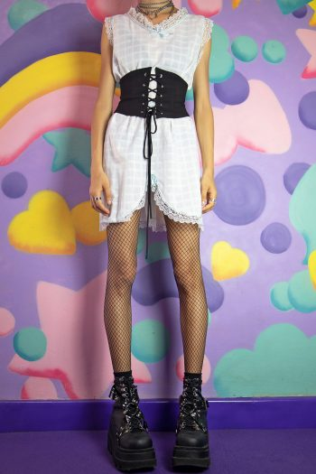 Dresses Vintage 80's White Plaid Nightie Dress – L/XL 90s dress