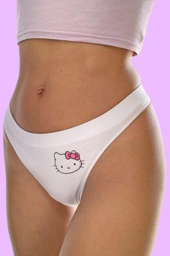 Kawaii ♡ Pastel Vintage Y2K White Hello Kitty Thong – XS Size XS