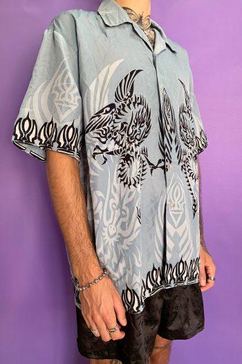 Cyber Vintage 90's Gray Tribal Shirt – XL 90s shirt