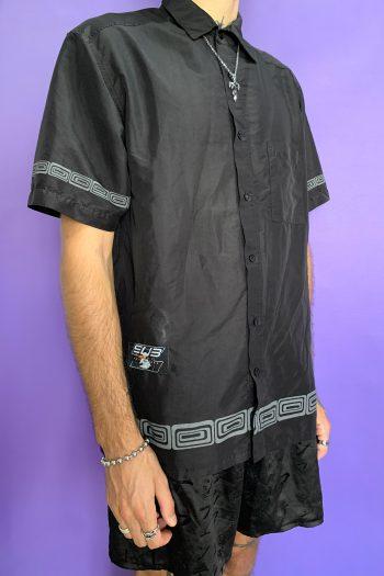 Cyber Vintage 90's Black Short Sleeve Shirt – XL 90s shirt