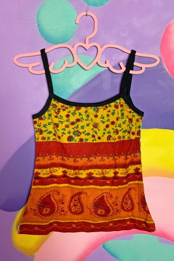 Boho Vintage 90's Beige Abstract Tank Top – M 90s top
