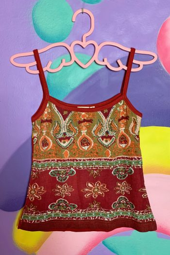 Boho Vintage 90's Maroon Abstract Tank Top – S 90s top
