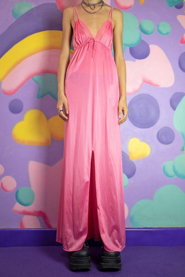 Dresses Vintage 80's Pink Lace Nightgown Dress – M 90s dress