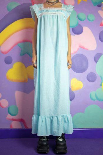 Boho Vintage 80's Pastel Blue Nightgown Dress – M/L 90s dress