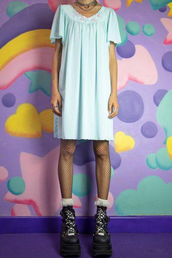 Dresses Vintage 90's Blue Floral Nightgown Dress – L/XL 90s dress