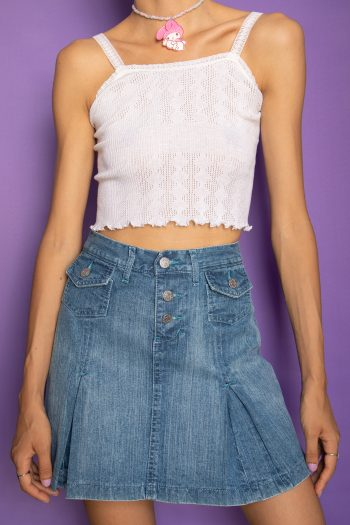 Cyber Vintage Y2K Pleated Denim Mini Skirt – XS/S denim skirt
