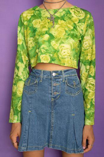 Bustiers & Crops Vintage 90's Green Floral Crop Top – S 90s top