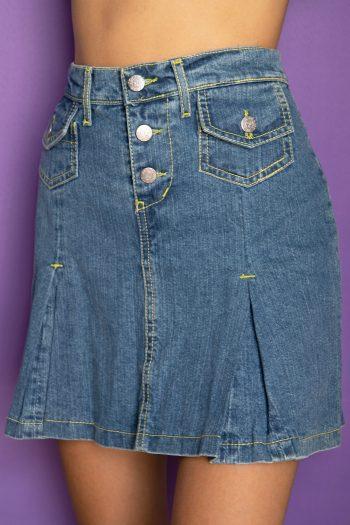 Cyber Vintage Y2K Jean Pleated Mini Skirt – XS/S denim skirt