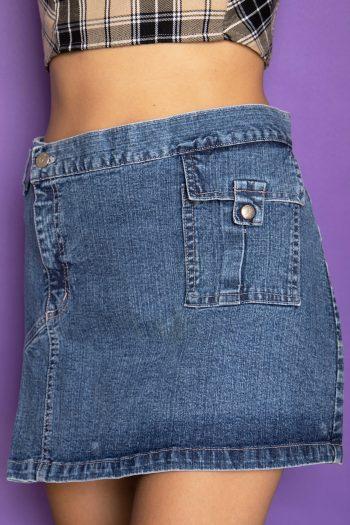 Cyber Vintage Y2K Asymmetric Denim Mini Skirt – S 90s skirt