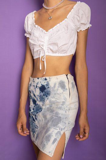 Cyber Vintage Y2K Tie Dye Mini Skirt – XS/S denim skirt