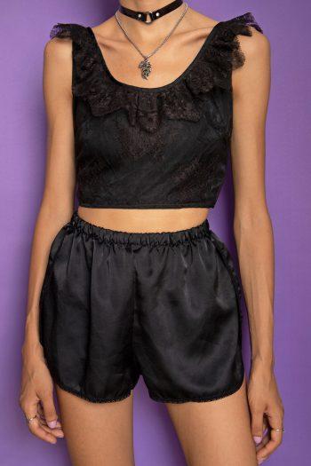 Bustiers & Crops Vintage 80's Black Lace Crop Top – XS 90s top