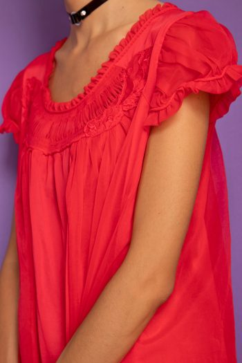Dresses Vintage 80's Red Puff Sleeve Nightgown – XL 90s nightie