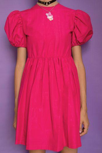Dresses Vintage 80's Fuchsia Puff Sleeve Dress – XXS 90s dress