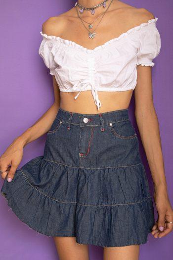 Goth ♡ Grunge Vintage Y2K Dark Flare Mini Skirt – S denim skirt