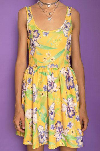 Boho Vintage Y2K Floral Mini Dress – XS floral dress